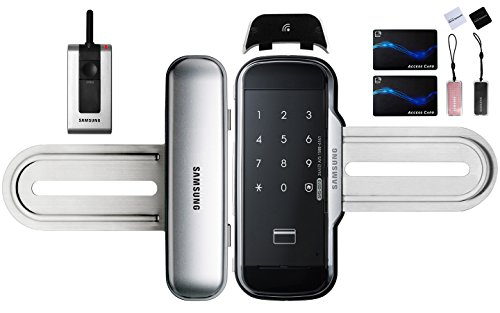 Samsung SHS-G510 Digital Glass Door Lock for Double Doors, Remote Control Set, 6 KeyTags, English Manual