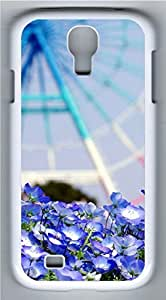 Samsung Galaxy S4 Case Customized Unique Landscape Wheel Blue Flowers Cover For Samsung Galaxy S4 I9500
