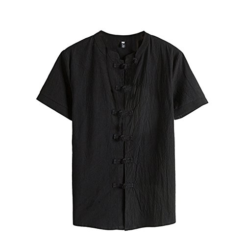 Men shirts Hot WEUIE Men Classic Floral Button Shirt Tops Tang Short Sleeve linen Blouse (M, Black ) by WEUIE