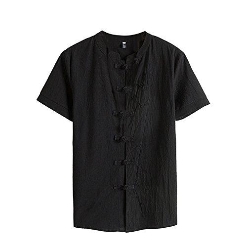 Men shirts Hot WEUIE Men Classic Floral Button Shirt Tops Tang Short Sleeve linen Blouse (M, Black) by WEUIE