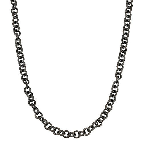 - Kooljewelry Black Ruthenium Over Sterling Silver forzatina Link Chain Necklace (4.3 mm, 18 inch)