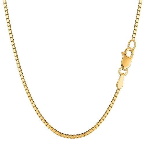 (14K Yellow Gold 1.4mm Shiny Classic Box Chain Necklace with Lobster Clasp 16 Inches Long)