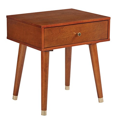 Office Star Cupertino Single Drawer Wood and Veneer Side Table, Light Walnut ()