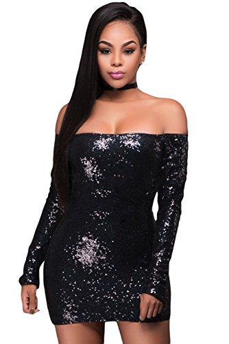 Femmes Noir Sequins Off épaule Robe bodycon à manches longues Club Wear Taille L UK 12EU 40