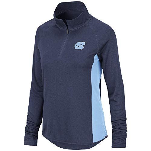 Colosseum Women's North Carolina Tarheels Blue 1/4 Zip Synthetic Pullover Windshirt (Large)
