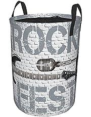 LargeFolding LaundryBasket,DrawstringWaterproofRoundCollapsibleLaundryStorageHamper with Handles,Dirty Clothes Bag