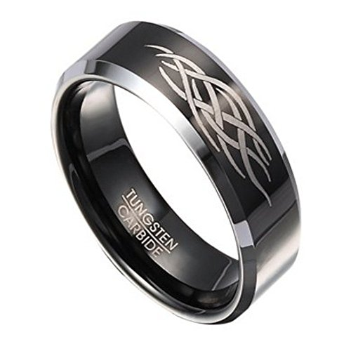Abstract Design Ring - Black Tungsten Ring for Men with Abstract Flame Design 8mm
