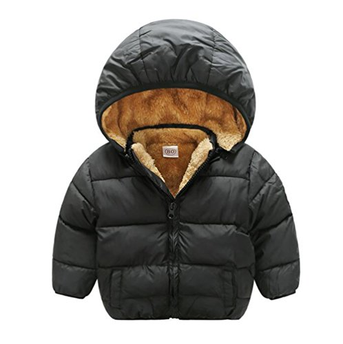 Baby Boys Girls Winter Puffer Coat Unisex Kids Fleece Lined Jacket Hoodies Warm Outwear Overcoat Black 90 by TAIYCYXGAN