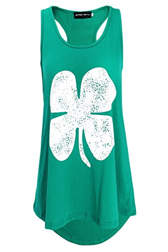 DREAGAL Lucky Three Leaf Clover ST Patricks Day Womens Tank Top Green -