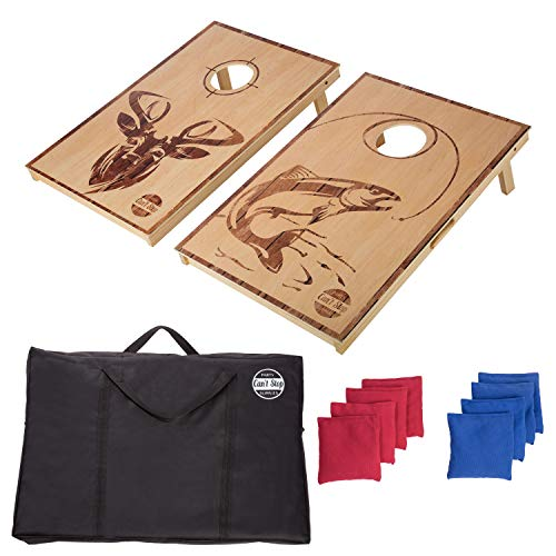 CAN'T STOP PARTY SUPPLIES Cornhole Board Game Set with 2 Boards and 8 Beanbags - Hunt -