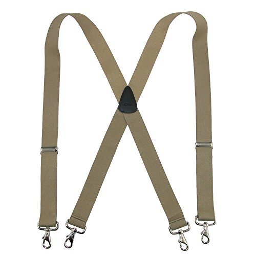 CTM Men's Big & Tall Elastic Solid Color X-Back Suspender with Swivel Hook Ends - Mens Swivel