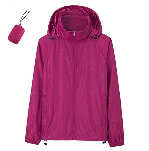 (2019 New Summer Autumn Women's and Men's Jackets Fashion Casual Windproof Sunscreen Hoodies,Purple Red,XXXL)