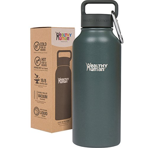 Healthy Human 32 oz Water Bottle - Cold 24 Hrs, Hot 12 Hrs. 4 Sizes & 12 Colors. Double Walled Vacuum Insulated Stainless Steel Thermos Flask with Carabiner & Hydro Guide. Color: Graphite