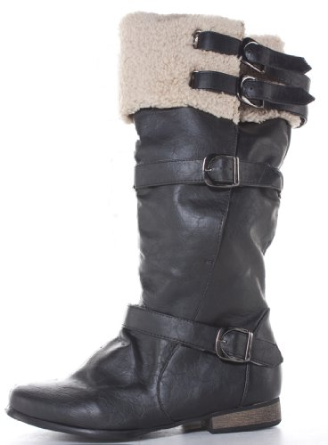 Ladies Womens Black Flat Winter Fur Wide Calf Leg Knee High Boots Size 3-8 qb7V5eg