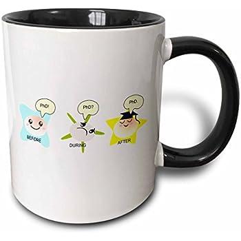 3dRose mug_165150_4 PhD funny process cartoon before during after humorous graduation gift Two Tone Black Mug, 11 oz, Black/White