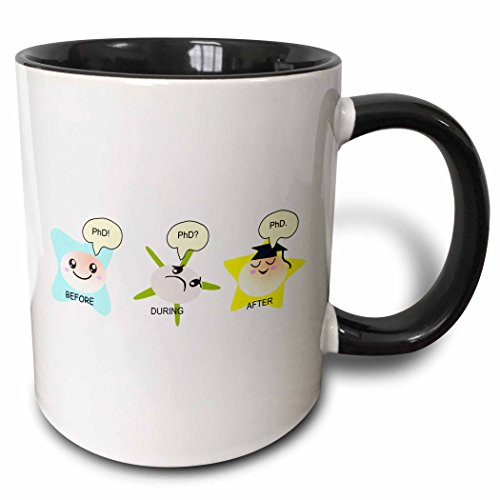 "3dRose 165150_4""PhD Funny Process Cartoon Before During After Humorous Graduation Gift Two Tone Mug, 11 oz, Black"