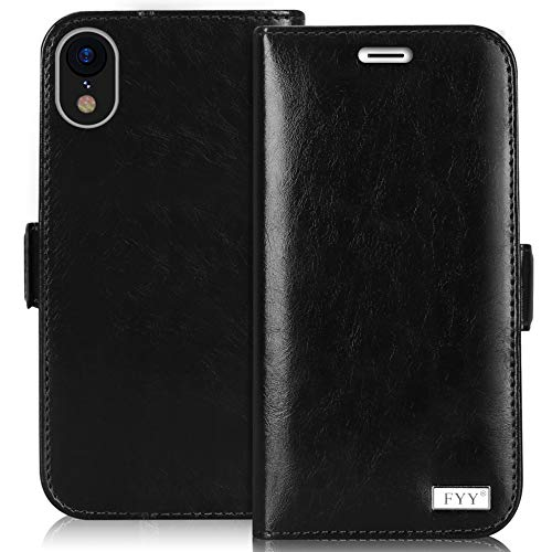 FYY Case for iPhone Xr (6.1) 2018, [RFID Blocking] [Kickstand Feature] Premium Leather Handmade Wallet Case with Card Slots Pockets for iPhone Xr (6.1) 2018 Black