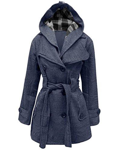 Janisramone Femmes capuche hiver manteau tailles S-4XL Denim