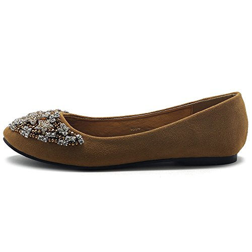 Picture of Ollio Women's Shoes Faux Suede Star Rhinestone Studded Ballet Flat