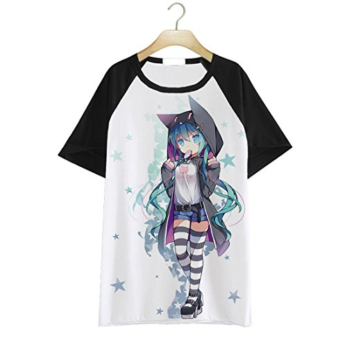 Japanese Anime VOCALOID 2 Miku Hatsune Short Sleeves Tee T-Shirt (M, Black and White) (Sailor Outfits For Men)