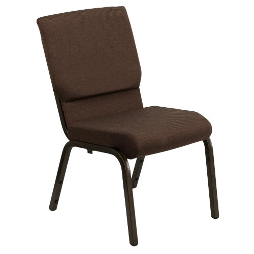 "18.5""W Stacking Church Chair in Brown Fabric – Gold Vein Frame"