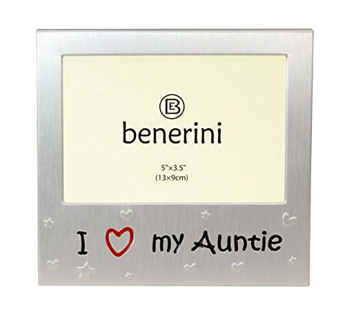 I Love My Auntie  - Expressions Photo Picture Frame Gift - 5 x 3.5  - Brushed Aluminum Satin Silver Color