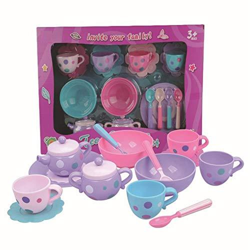 NeatoTek 17 Pack Tea Set Tea Party Pretend Playset for Kids, Teapot Play Set Pretend Play Set Kitchen Toy Teapot Gift for Toddles Kids Children Boys Girls