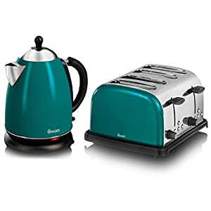 Swan Teal Stainless Steel 17 Litre Jug Kettle And 4 Slice