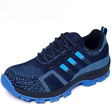 作業靴 男性および女性の作業靴、飛んで編まれた靴、軽量で快適なカジュアルシューズ、スマッシュ防止およびパンク防止、ゴム底滑り止めクッションファッション(色:2#) 安全靴 (色 : 青, サイズ さいず : 43)