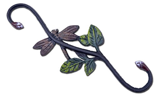 Cast Iron S Style Plant Hook Dragonfly Flower Basket Hanger 12'' Long by Import Wholesales