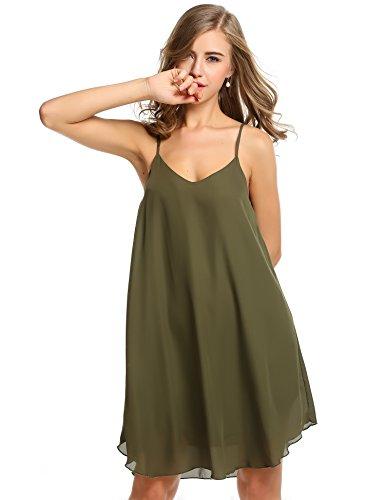 cooshional Vestido de gasa sin mangas vestido casual de playa de las mujeres Ejercito verde