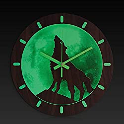BEW Luminous Wall Clock, Howling Wolf Under Moon Glow-in-Dark, Silent Non-Ticking Battery Operated Vintage Wooden Decorative for Living Room/Dining Room/Kids Bedroom/Kitchen (12 Inch)