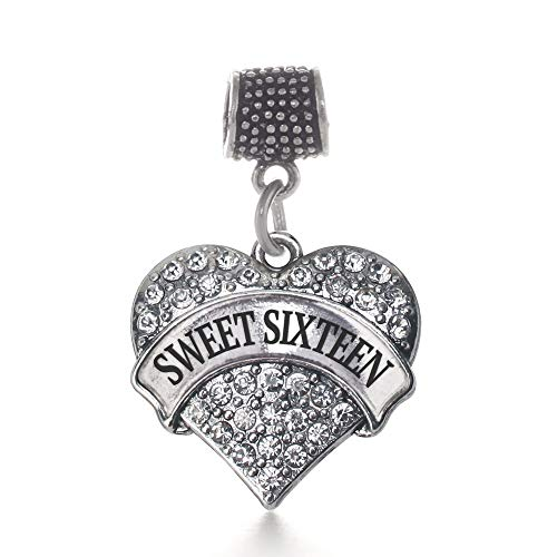 Inspired Silver - Sweet Sixteen Memory Charm for Women - Silver Pave Heart Charm for Bracelet with Cubic Zirconia Jewelry