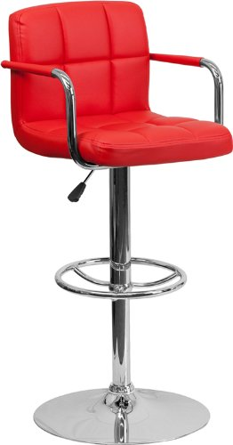 2-Pk-Contemporary-Red-Quilted-Vinyl-Adjustable-Height-Bar-Stool-with-Arms-and-Chrome-Base