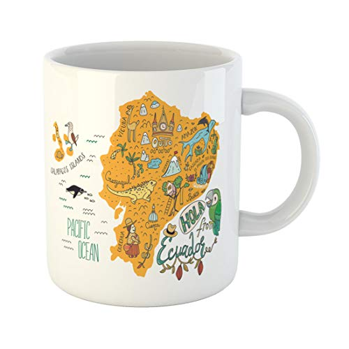 Semtomn Funny Coffee Mug Map of Ecuador and