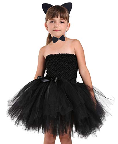 Tutu Dreams Halloween Catgirl Costumes for Girls Cat Ears Headband Tail Bow Tie Set Birthday Gifts (Catgirl, 7-8Y) -