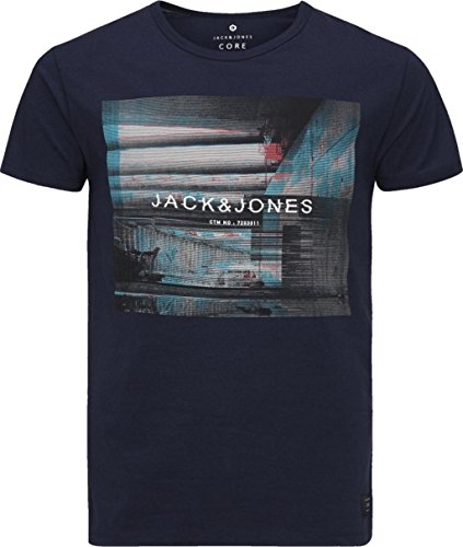 Jack & Jones Glitch Crew Neck Short Sleeve T-Shirt Navy - XL (42-44in)