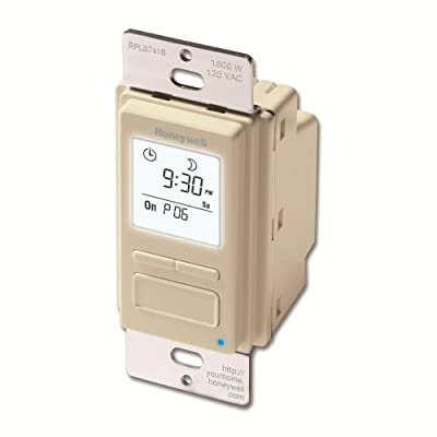 Honeywell RPLS741B1007/U EconoSWITCH 7-Day Programmable Timer for Lights, Light Almond