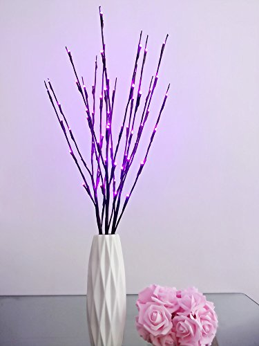 Fantasee 3 Pack 76cm Branch Twig Light LED Tree Branches Light Flexible Branch Decoration Light for Indoor Shop Windows Vase Table Living Room, 4 Colors Available (3 Pack, Pruple) ()