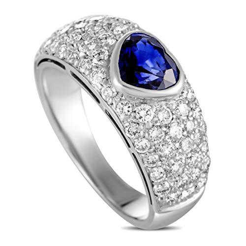 Bvlgari (Est.) Bvlgari Vintage 18K White Gold Diamond and Heart Cut Sapphire Ring