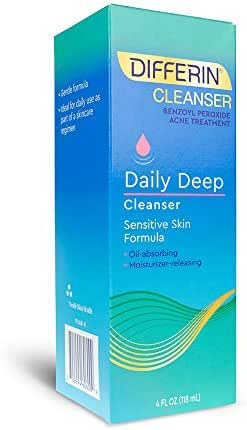 Differin Daily Deep Cleanser - Sensitive Skin Formula.  Deep Cleans With The Power Of Maximum Strength Benzoyl Peroxide But With Less Irritation and Redness, 4 ounce