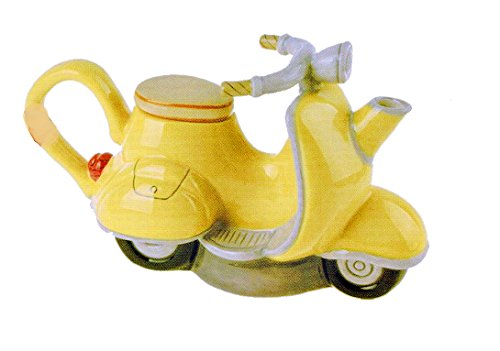 Blue Sky Clayworks Ceramic Figural Vespa Scooter Teapot, Yellow