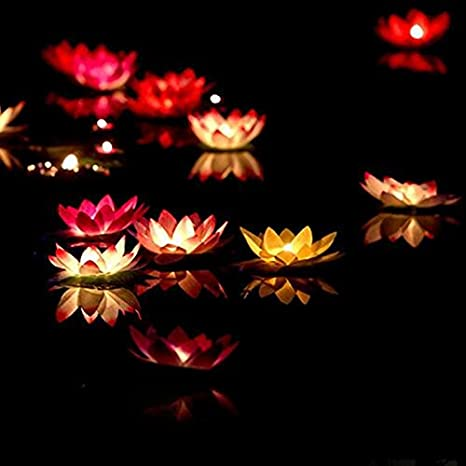 OPEN BUY 10 Unids velas flotantes Flor de loto multicolor decoracion bodas eventos celebraciones: Amazon.es: Jardín