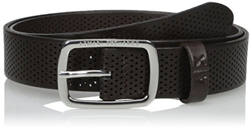 Armani Exchange Men's Rounded Buckle Leather Belt, Dark Chocolate, - Chocolate Buckle Dark
