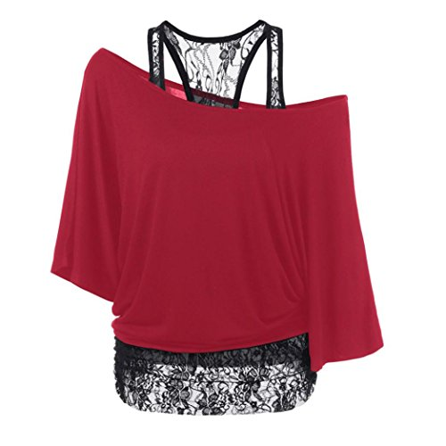 XUANOU Women Loose Shirt Casual Lace Stitching Long Sleeve Tops Blouse (X-large, Red)