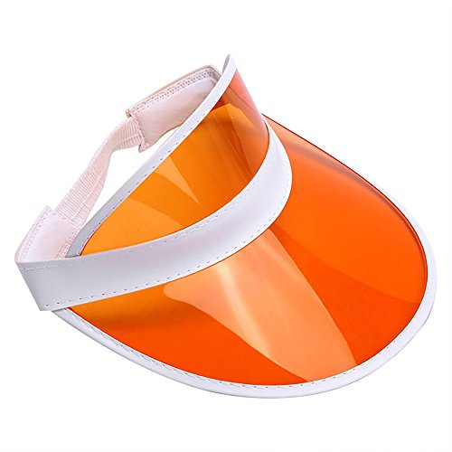 (Retro Beach Colored Plastic Clear Sun Visor Hat, Orange, One Size)