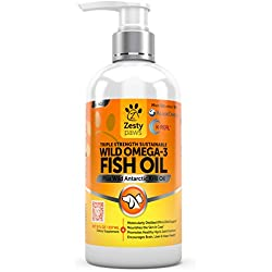 Wild Omega 3 Fish Oil - For Small Dogs & Cats - Antarctic Krill & Wild Caught Alaskan Pollock - EPA & DHA for Hip & Joint Support Supplement + Anti Itch Relief Skin & Coat Care Treatment - 8 FL OZ