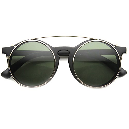 zeroUV - Vintage Inspired P-3 Horn Rimmed Crossbar Clip-On Round Sunglasses 52mm (Matte Black-Gold / - On Clip Vintage Sunglasses