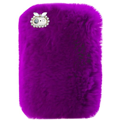 ase,Super Deluxe Luxury Winter Fashion Bling Rhinestone Fuzzy Faux Rabbit Furry Fluffy Beaver Rex Rabbit Fur Protective Case for Apple iPad 9.7 iPad 5th/6th Generation(DarkPurple) ()