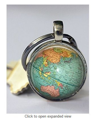 (Globe Keychain World Map Planet Earth Geography Key Chain Key Fob Accessories)